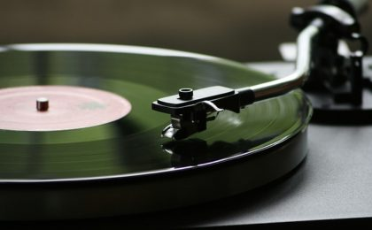 turntable with lp vinyl record
