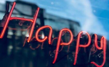 happy - neon wallpaper